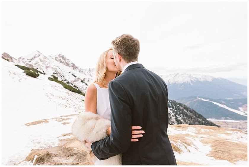 Steph and Lee have their first kiss on a mountain top
