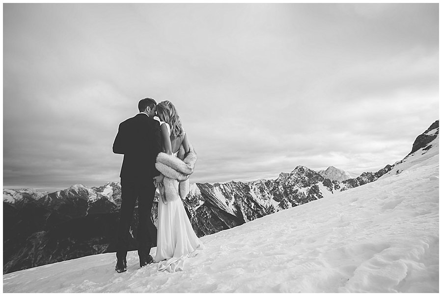 Steph and Lee have a quiet moment alone looking at the mountains
