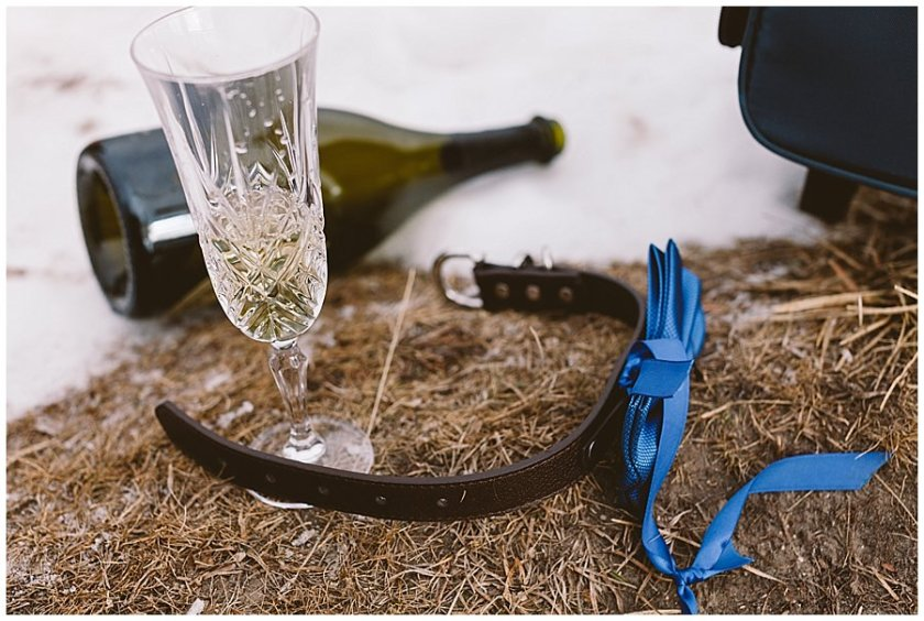 A dog collar, an empty champagne bottle and a glass of champagne lie on the floor