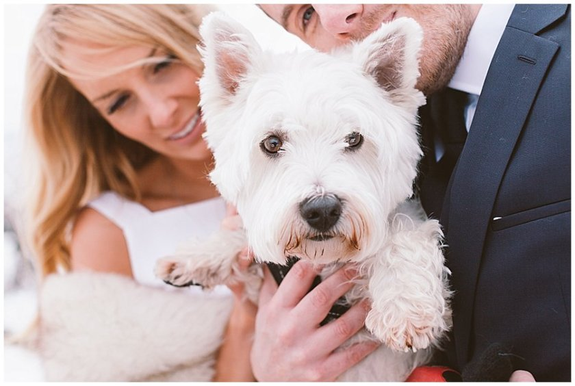 A close up of Steph and Lee holding Harold the dog
