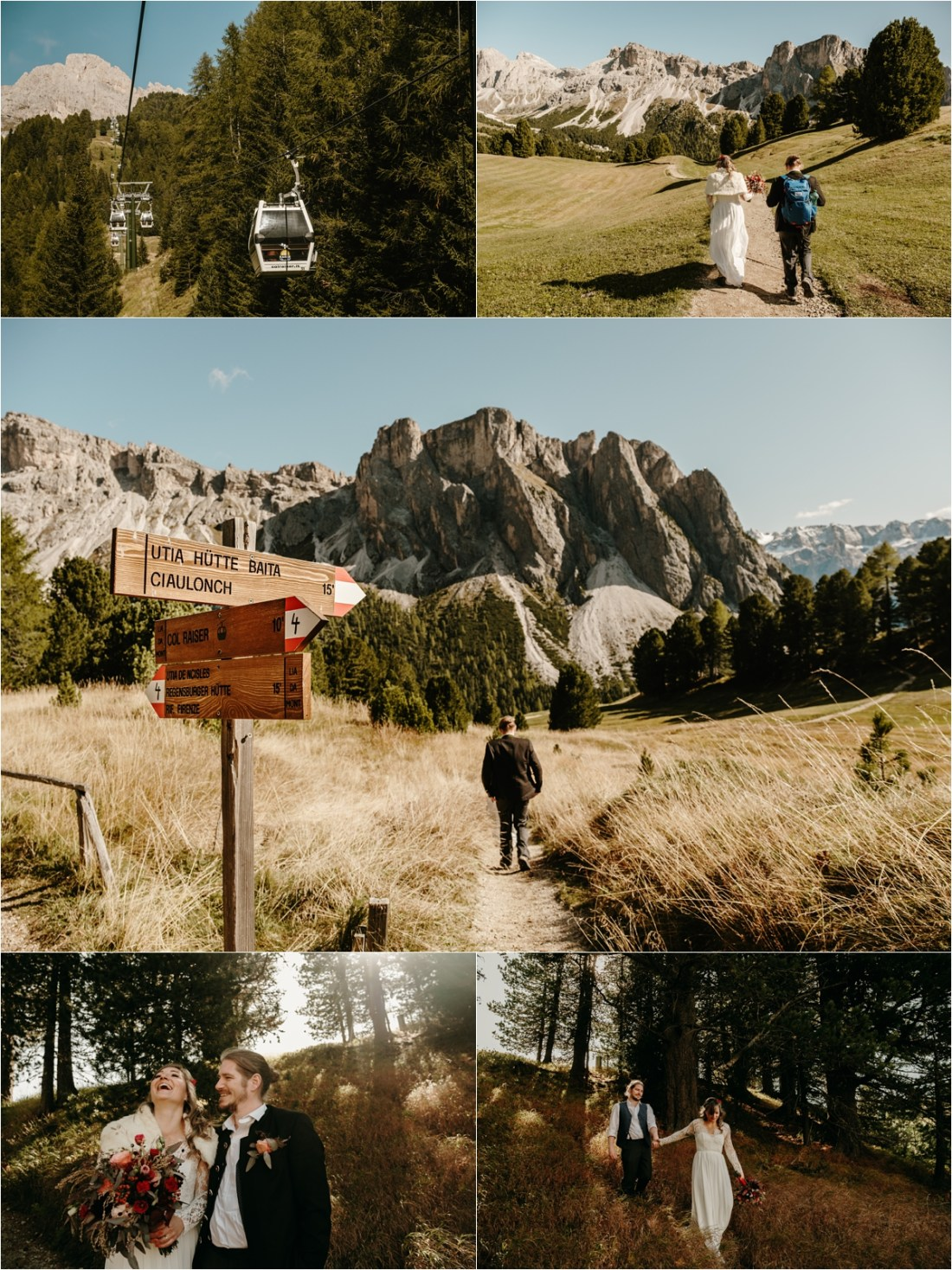 Bride and groom travel up a cable car on their wedding day. Photos by Wild Connections Photography