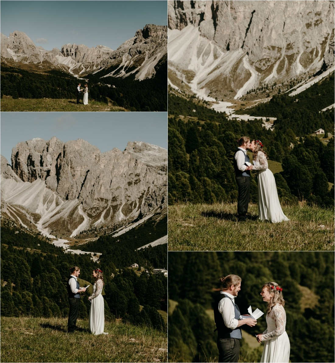 An elopement ceremony near Seceda in the Dolomites. Photos by Wild Connections Photography