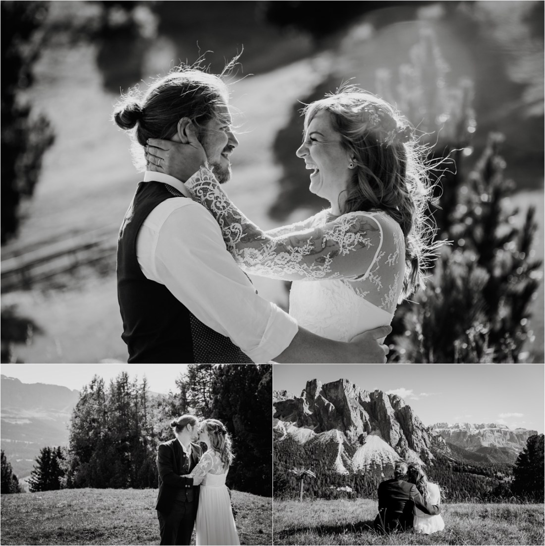 Bride and groom photos after their intimate elopement in the Dolomites. Photos by Wild Connections Photography