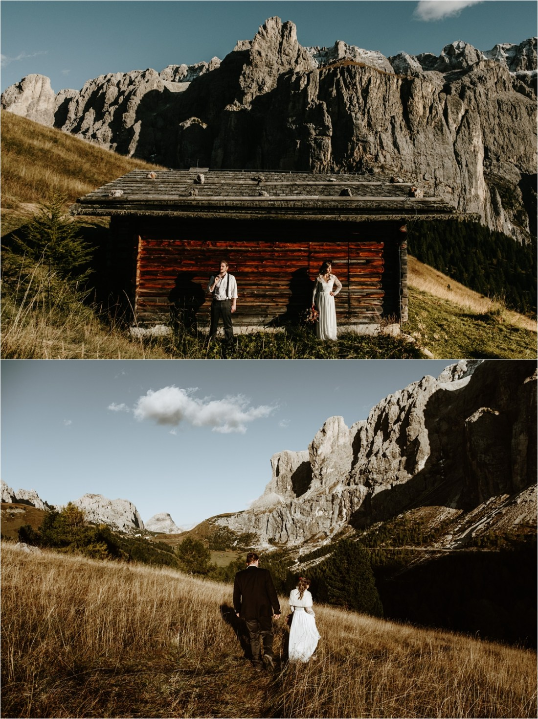 An elopement at a traditional wooden farmer's hut in the Dolomites. Photos by Wild Connections Photography