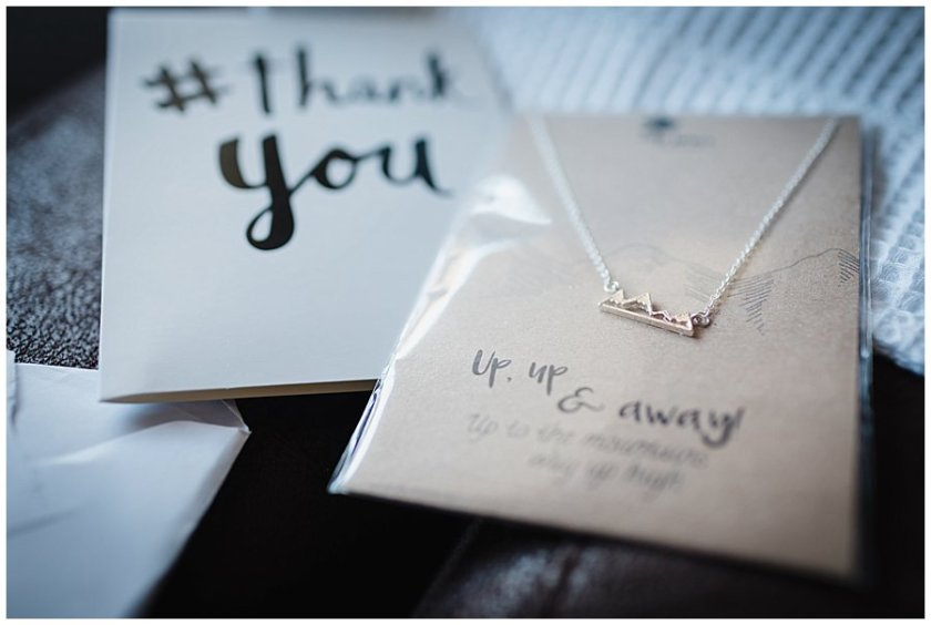 Thank you card and mountain necklace