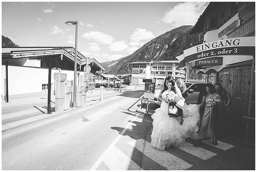The bride and her party leave the hotel in Mayrhofen and head to the ceremony location