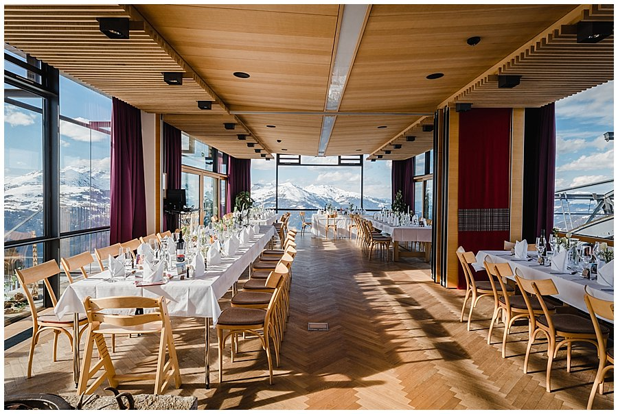 The Freiraum in Mayrhofen set up as a wedding reception venue