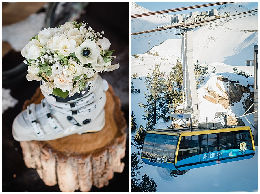 The bouquet sits in the bride's ski boot and a picture of the Ahornbahn cable car
