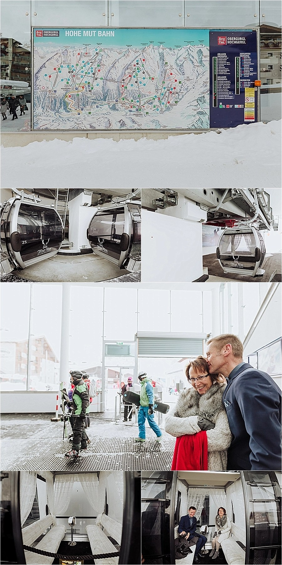 The Hohe Mut Bahn in Obergurgl, Karin & Erik wait for the wedding gondola by Wild Connections Photography