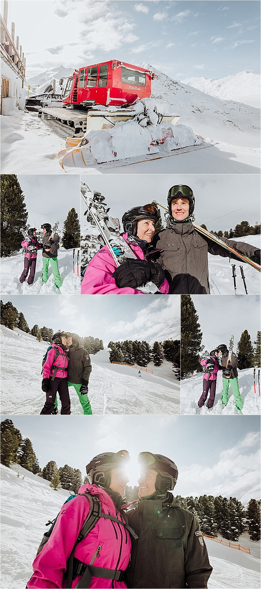 Karin & Erik hit the ski slopes after their mountain elopement in Austria by Wild Connections Photography