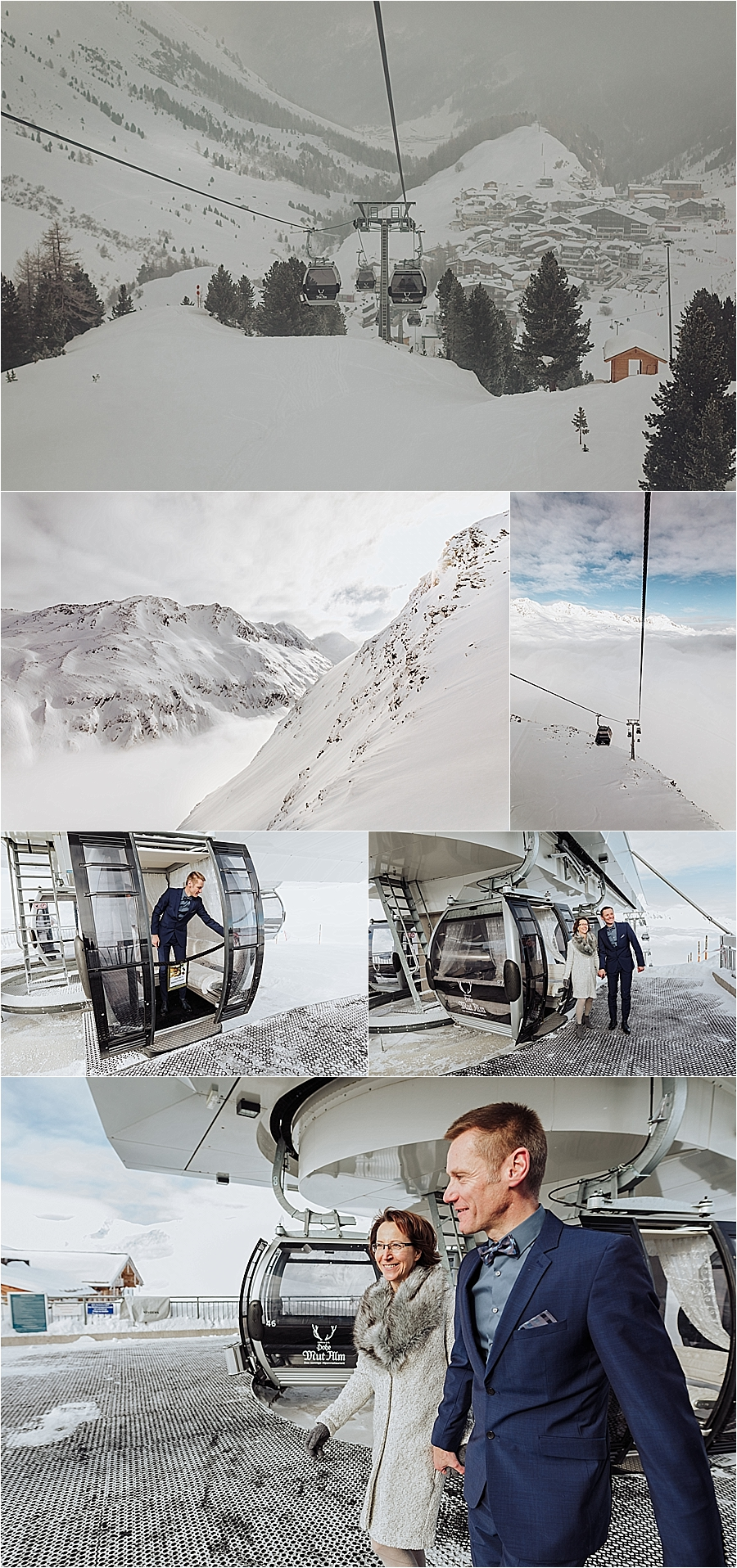 The bride & groom ride the gondola up the mountain in Obergurgl by Wild Connections Photography
