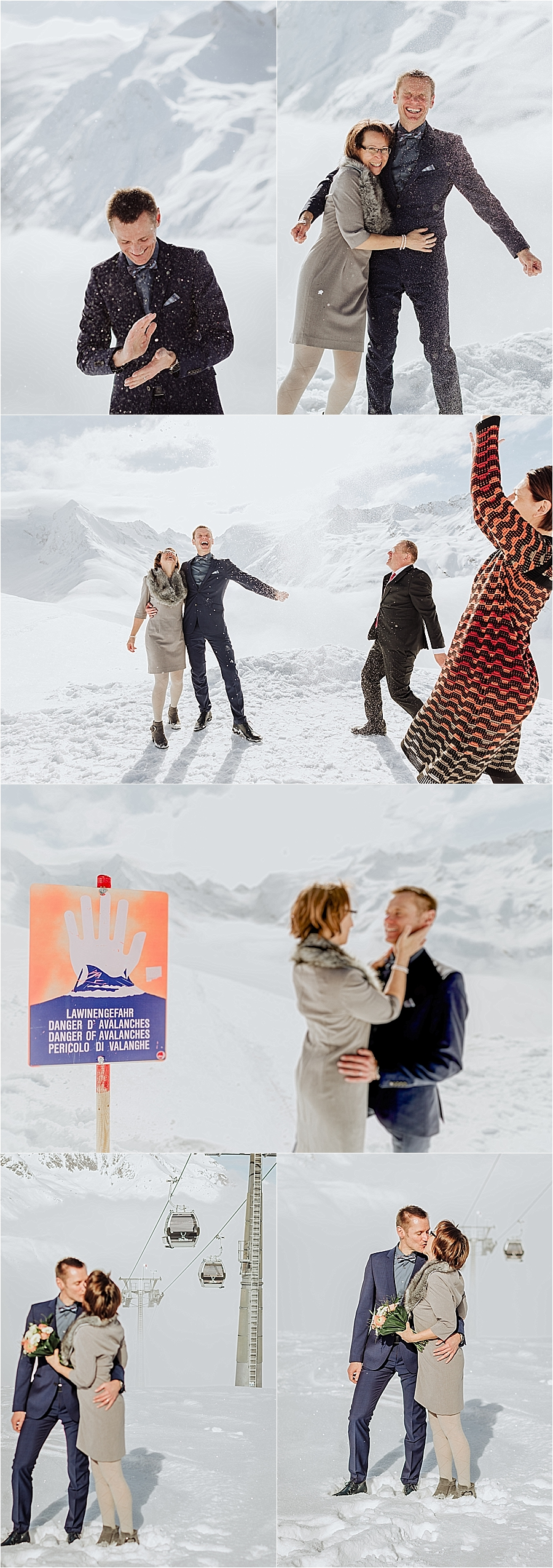 The bride & groom celebrate by throwing snow after their winter wedding in Austria by Wild Connections Photography