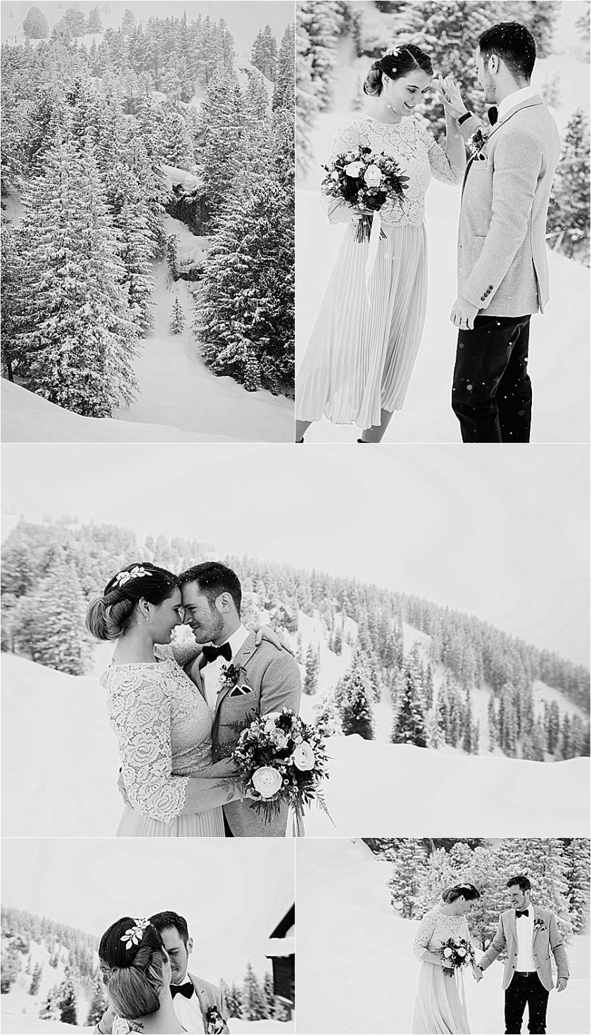 The bride and groom dance in the snow before their winter mountain elopement on the Penken in Mayrhofen by Wild Connections Photography