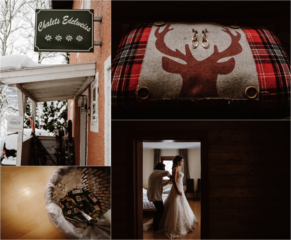 Bride Inge gets ready at a ski chalet in Zell Am See by Wild Connections Photography