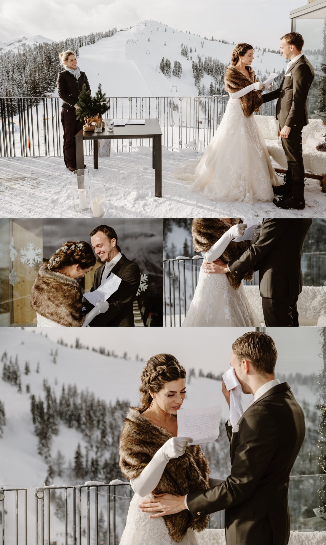 The bride and groom exchange hand-written vows at their outdoor ceremony on the terrace of the Schmiedhof Alm in Zell Am See Austria by Wild Connections Photography