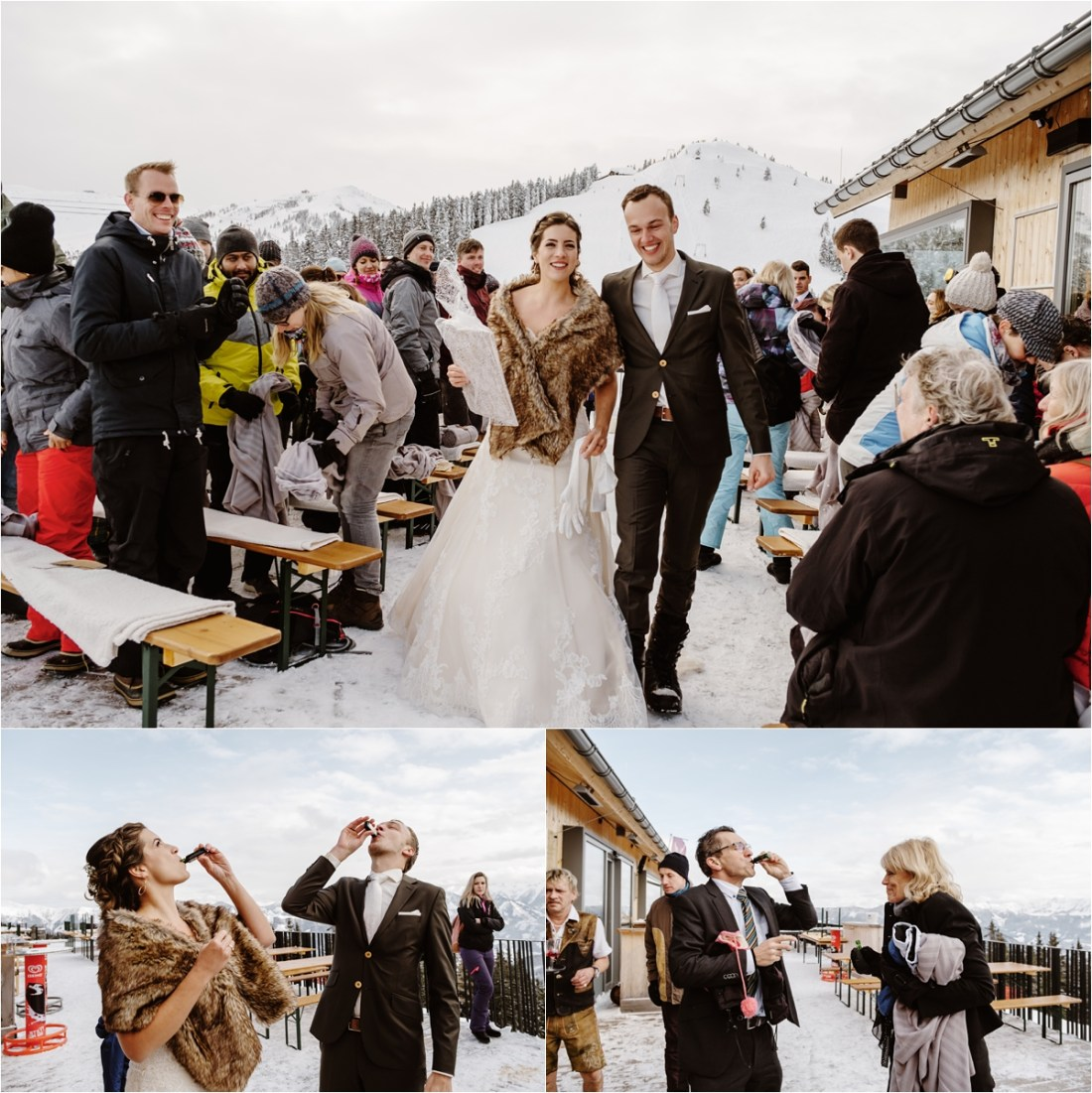 The bride and groom leave the ceremony and have a celebratory Jäger shot by Wild Connections Photography