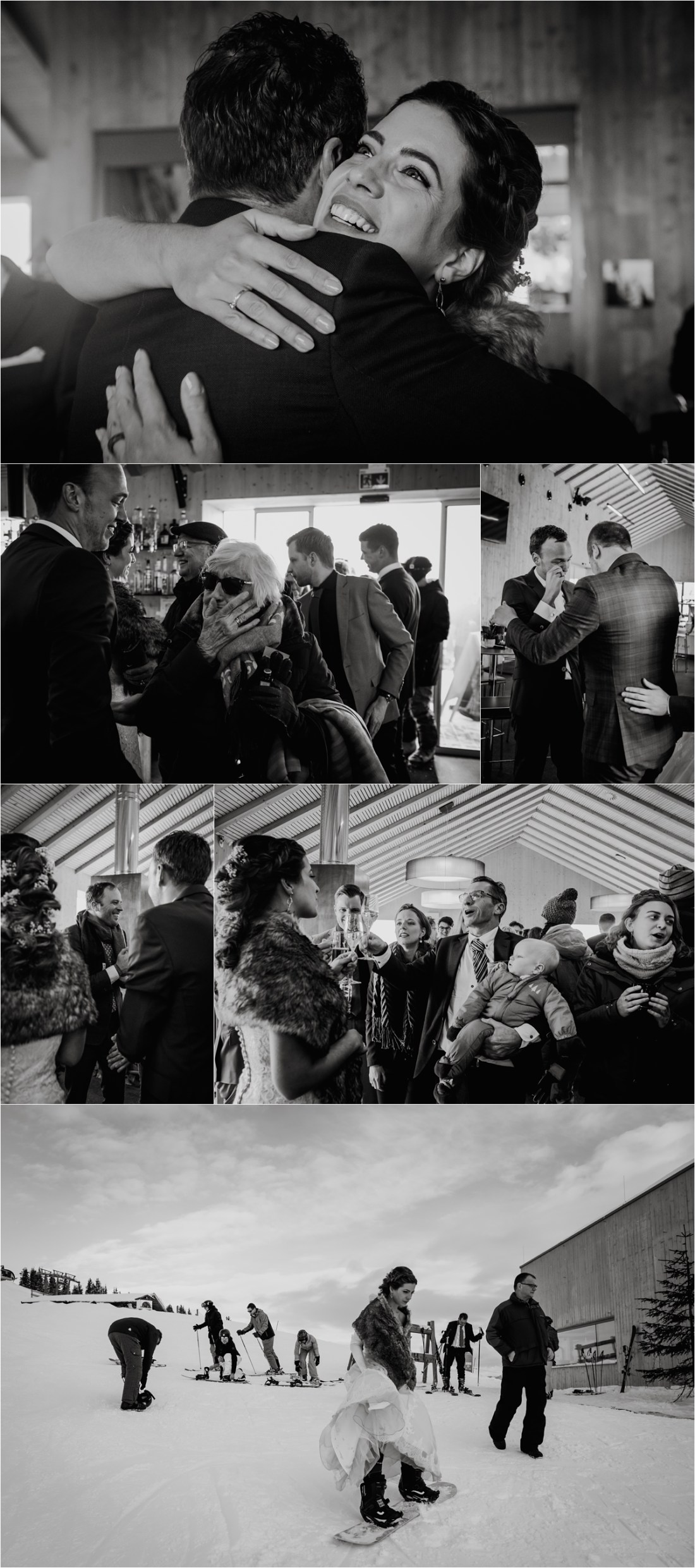 Guests congratulate the bride and groom after their wedding ceremony at the Schmiedhof Alm in Zell am See by Wild Connections Photography