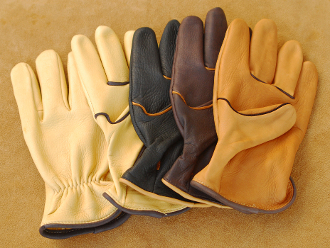 2 Tone Deerskin Leather Western Work Gloves USA Made