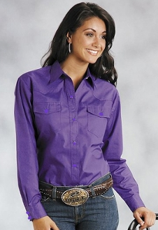 Womens Long Sleeve Pearl Snap Red Western Shirt