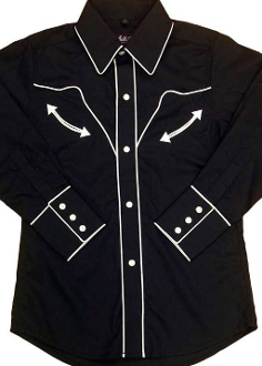 Child Vintage White Piped Black Western Shirt