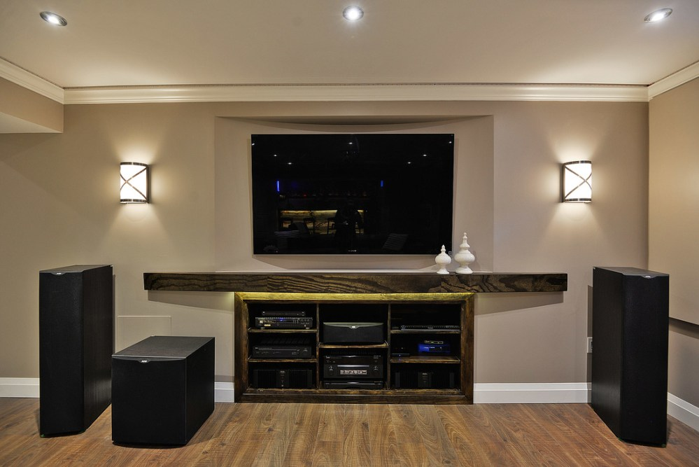 medium resolution of home theatre with 11 5 speakers in basement