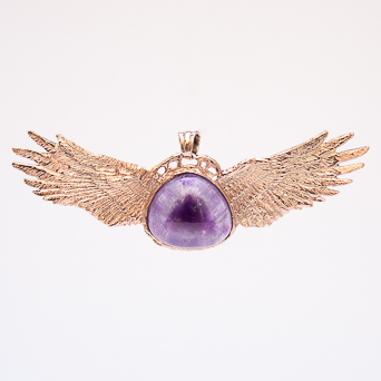 9K Gold Amethyst Angel Pendant