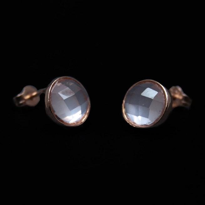 Gold Faceted Rose Quartz Stud Earrings