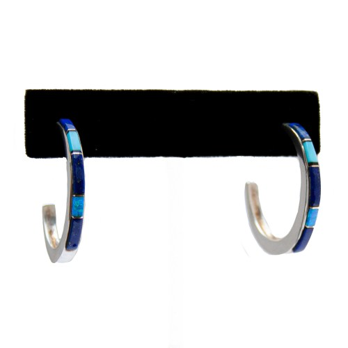 Lapis Turquoise Opal Hoops
