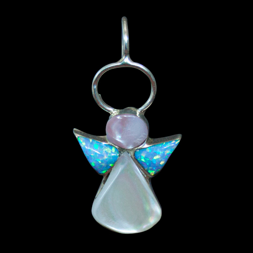Blue Opal Angel Pendant