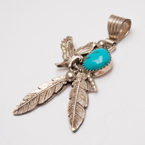 Eagle Turquoise Feather Pendant