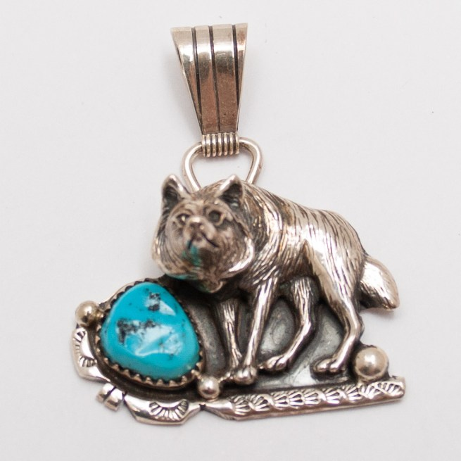 Silver Turquoise Wolf pendant