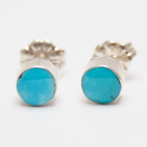 Flat Round Turquoise Studs