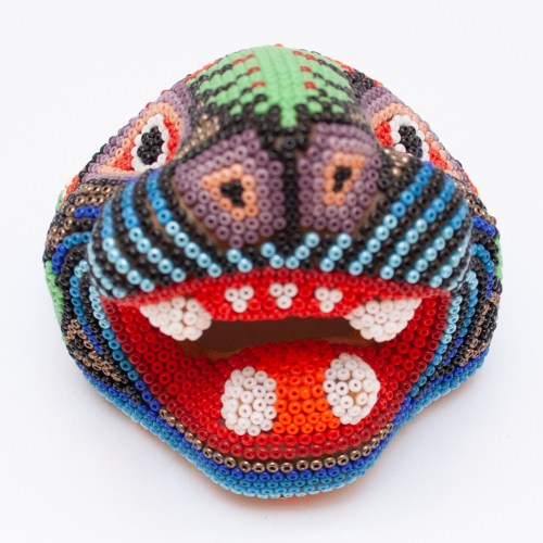 Huichol Beaded Jaguar Head