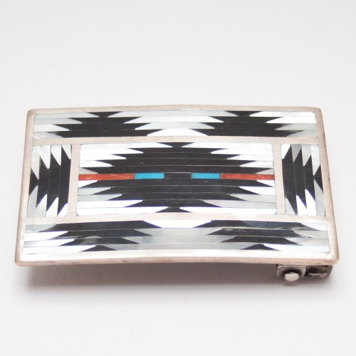 Charlotte Dishta Rug Pattern Zuni Inlay Belt Buckle