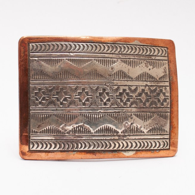 Wylie Secatero Silver Copper Rug Pattern Buckle