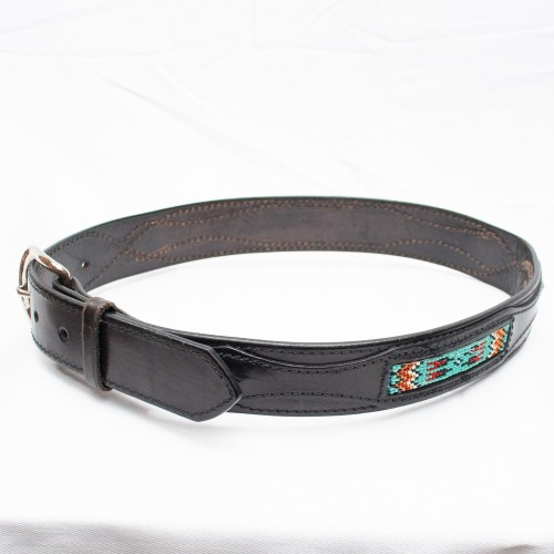 Black Leather Beaded Belt