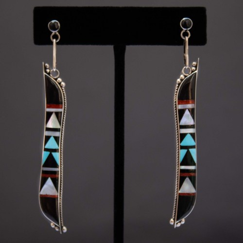 Long Black Zuni Inlay Drop Earrings