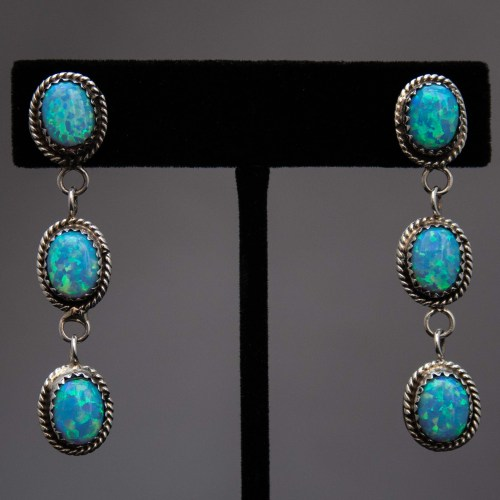 Native American Three Tier Opal Drop Earrings