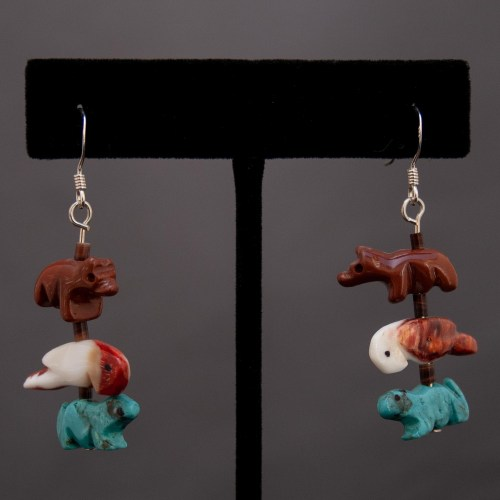 Neil Thomas Bear Parrot Beaver Fetish Earrings