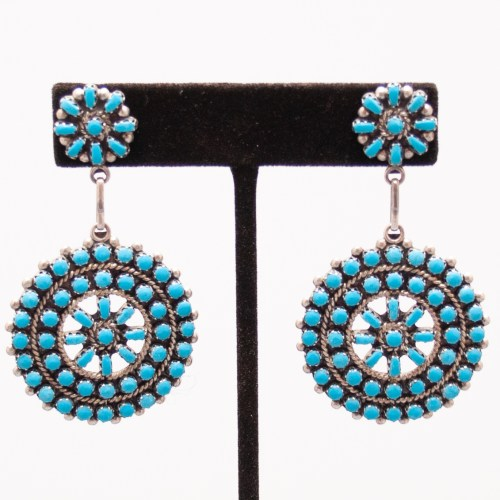 Ernest Gchachu Zuni Turquoise Drop Earrings