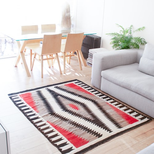 1930's Black White Red Grey Navajo Rug