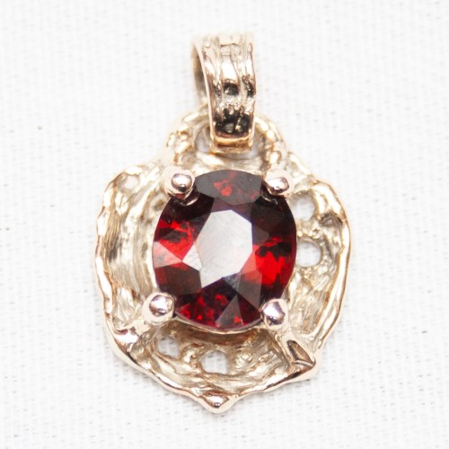 Gold Red Garnet Pendant