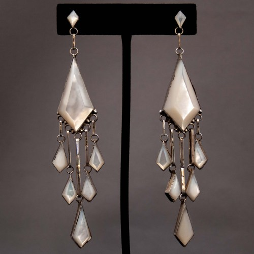 Native American Mother Of Pearl Chandelier Drop Earrings