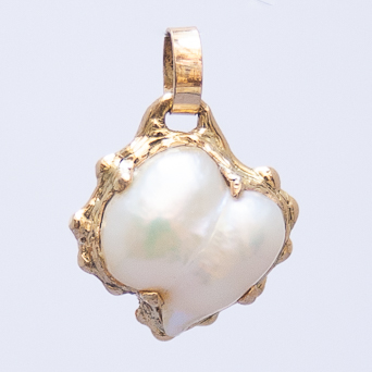 Pendentif Or 18 Carats Perle Blanche