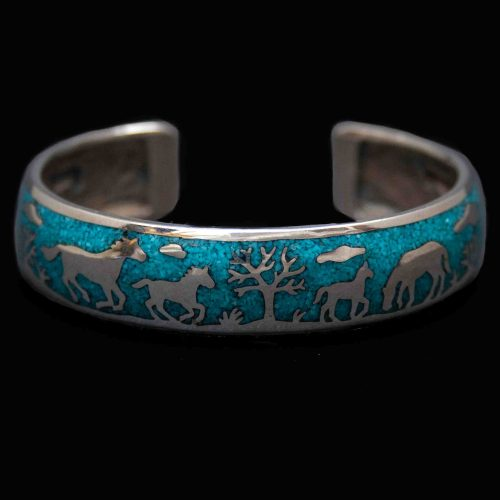 Turquoise Silver Horse Bracelet