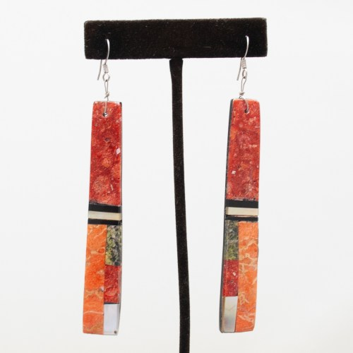 Multicolour Orange Slab Earrings