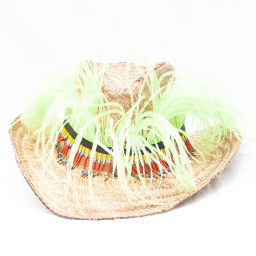 Green Feather Beaded Hat