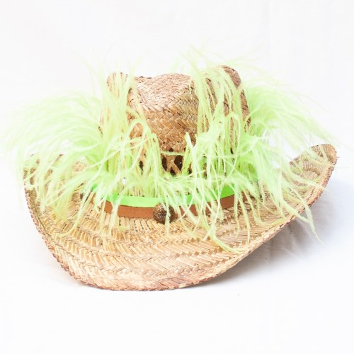 Green Ostrich Feather Hat