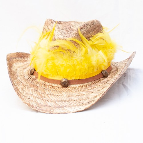 Yellow Feather Straw Hat