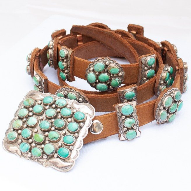 Turquoise concho belt by J. Emerson